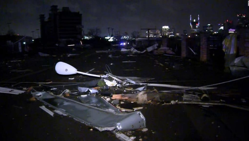 2 people were killed and at least 40 structures collapsed after a powerful tornado tore through the Nashville area overnight