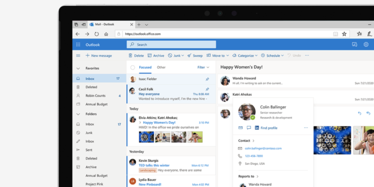 To compete with Gmail, Microsoft reveals plans for new Web-based Outlook features