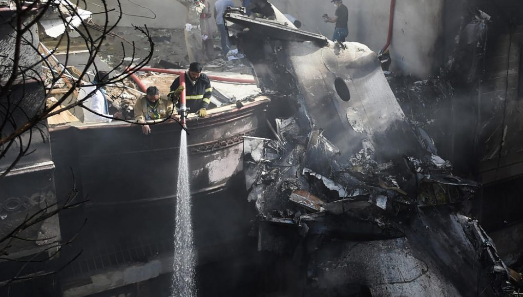 Pakistan International Airlines plane crashes in Karachi with 98 people on board